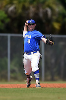 U-Mass Boston Beacons Luke Nagle (6) during a game against the Farmingdale State Rams at North Charlotte Regional Park on March 19, 2015 in Port Charlotte, Florida.  U-Mass Boston defeated Farmingdale 9-5.  (Mike Janes/Four Seam Images)