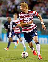 PORTLAND, Ore. - July 9, 2013: Brek Shea brings the ball forward in the second half. The US Men's National team plays the National team of Belize during the 2013 Gold Cup at at JELD-WEN Field.