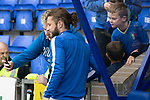 St Johnstone v Kilmarnock…31.08.19   McDiarmid Park   SPFL<br />Stevie May poses for photos with young fans<br />Picture by Graeme Hart.<br />Copyright Perthshire Picture Agency<br />Tel: 01738 623350  Mobile: 07990 594431