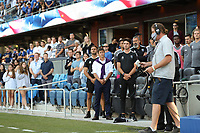 SAN JOSE, CA - JULY 24: San Jose Earthquakes coaches Guido Bonini, Matias Almeyda, and Agustin Zalazar before a game between Houston Dynamo and San Jose Earthquakes at PayPal Park on July 24, 2021 in San Jose, California.