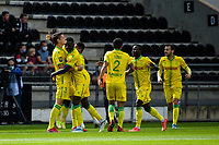19th September  2021; Angers, Pays de la Loire, France; French League 1 football Angers versus Nantes;  Celebrations from the players  Nantes team after the goal from Andrei GIROTTO