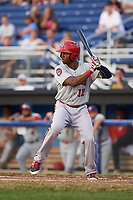 Auburn Doubledays center fielder Zach Collier (12), on rehab assignment, at bat during a game against the Batavia Muckdogs on July 6, 2017 at Dwyer Stadium in Batavia, New York.  Auburn defeated Batavia 4-3.  (Mike Janes/Four Seam Images)