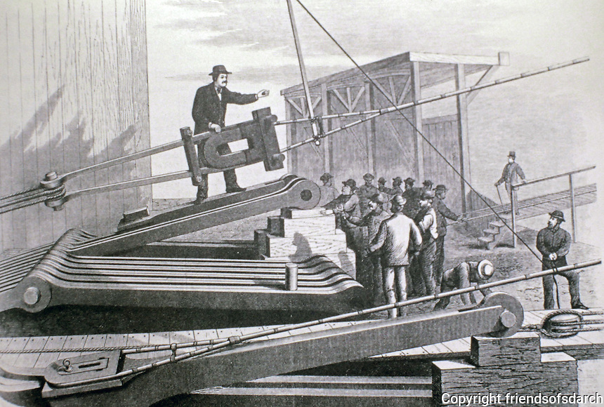 Historical photo of construction workers on Brooklyn Bridge, New York City.