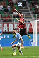 Francesco Acerbi of SS Lazio and Zlatan Ibrahimovic of AC Milan compete for the ball during the Serie A 2021/2022 football match between AC Milan and SS Lazio at Giuseppe Meazza stadium in Milano (Italy), August 29th, 2021. Photo Image Sport / Insidefoto