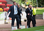 St Johnstone v Ross County...17.08.13 SPFL<br /> Tommy Wright and Derek Adams watch the game<br /> Picture by Graeme Hart.<br /> Copyright Perthshire Picture Agency<br /> Tel: 01738 623350  Mobile: 07990 594431