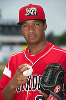 Batavia Muckdogs pitcher Ayron Adames (36) poses for a photo during media day on June 10, 2014 at Dwyer Stadium in Batavia, New York.  (Mike Janes/Four Seam Images)