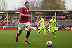 © Joel Goodman - 07973 332324 . 14/11/2015 . Manchester , UK . FC United's SAM MADELEY on the ball . FC United host Gainsborough Trinity in the National League North at Broadhurst Park . NB requested changing room access three times and was denied three times . Photo credit : Joel Goodman