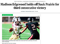 Madison Edgewood quarterback, Mason Folkers, looks to get past Sauk Prairie's Jace Elsing in the second quarter, as Madison Edgewood takes on Sauk Prairie in Badger Conference high school football on Friday, Nov. 6, 2020 at Sauk Prairie High School in Prairie Du Sac, Wisconsin  | Wisconsin State Journal article front page B1 Sports 11/7/20 and online at https://madison.com/wsj/sports/high-school/football/madison-edgewood-holds-off-sauk-prairie-for-third-consecutive-victory/article_8b297c60-b215-5e6a-b40a-392c1891a847.html