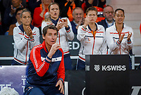 The Hague, The Netherlands, Februari 8, 2020,    Sportcampus, FedCup  Netherlands -  Balarus, First match on Saturday:  The Dutch bench: Captain Haarhuis<br /> Photo: Tennisimages/Henk Koster