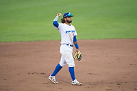 Ogden Raptors shortstop Ronny Brito (5) during a Pioneer League game against the Great Falls Voyagers at Lindquist Field on August 23, 2018 in Ogden, Utah. The Ogden Raptors defeated the Great Falls Voyagers by a score of 8-7. (Zachary Lucy/Four Seam Images)