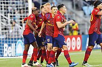 SAINT PAUL, MN - APRIL 24: Anderson Julio #29 of Real Salt Lake celebrates a goal during a game between Real Salt Lake and Minnesota United FC at Allianz Field on April 24, 2021 in Saint Paul, Minnesota.