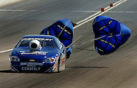 Apr 9, 2006; Las Vegas, NV, USA; NHRA Pro Stock driver Kurt Johnson, driver of the AC Delco Chevrolet Cobalt slows down after the semi finals of eliminations. Johnson defeating Dave Connelly in the final round of Pro Stock at the Summitracing.com Nationals at Las Vegas Motor Speedway in Las Vegas, NV. Mandatory Credit: Mark J. Rebilas