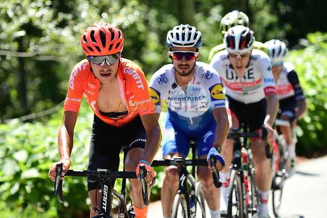 Fausto Masnada (ITA) CCC Team and Julian Alaphilippe (FRA) Deceuninck-Quick Step part of the breakaway during Stage 4 of Criterium du Dauphine 2020, running 157km from Ugine to Megeve, France. 15th August 2020.<br /> Picture: ASO/Alex Broadway   Cyclefile<br /> All photos usage must carry mandatory copyright credit (© Cyclefile   ASO/Alex Broadway)