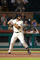 Scottsdale Scorpions outfielder Mac Williamson (46) at bat during an Arizona Fall League game against the Salt River Rafters on October 14, 2015 at Scottsdale Stadium in Scottsdale, Arizona.  Scottsdale defeated Salt River 13-3.  (Mike Janes/Four Seam Images)