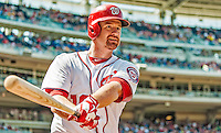 25 July 2013: Washington Nationals infielder Chad Tracy swings a bat on deck during a game against the Pittsburgh Pirates at Nationals Park in Washington, DC. The Nationals salvaged the last game of their series, winning 9-7 ending their 6-game losing streak. Mandatory Credit: Ed Wolfstein Photo *** RAW (NEF) Image File Available ***