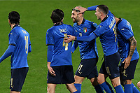 Vincenzo Grifo of Italy (R) celebrates with Sandro Tonali and Federico Bernardeschi after scoring the goal of 1-0 during the friendly football match between Italy and Estonia at Artemio Franchi Stadium in Firenze (Italy), November, 11th 2020. Photo Andrea Staccioli/ Insidefoto