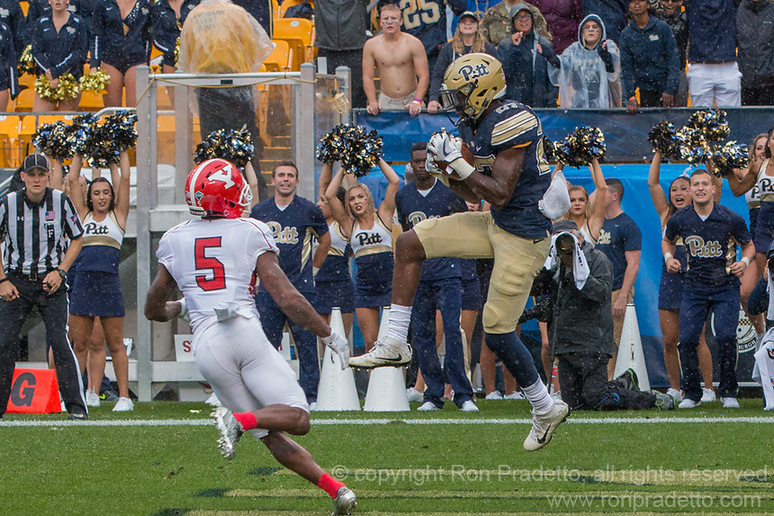 PItt defensive back Bricen Garner intercepts a pass in the endzone to win the game. The Pitt Panthers defeated the Youngstown State Penguins 28-21 in overtime at Heinz Field, Pittsburgh, Pennsylvania on September 02, 2017.