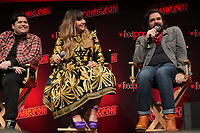 """NEW YORK CITY - OCTOBER 10: Harvey Guillén, Natasia Demetriou and Matt Berry attend a 2021 New York Comic Con event for FX's """"What We Do In The Shadows"""" at the Javits Center on October 10, 2021 in New York City.  (Photo by Ben Hider/FX//PictureGroup)"""