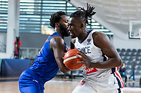 22nd February 2021, Podgorica, Montenegro; Eurobasket International Basketball qualification for the 2022 European Championships, England versus France;  Jerry Boutsiele of France and Gabriel Olaseni (GBR)