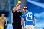 20.02.2021, xtgx, Fussball 3. Liga, FC Hansa Rostock - SV Waldhof Mannheim, v.l. Schiedsrichter, Schiri, referee Dr. Martin Thomsen, Jan Loehmannsroeben (Hansa Rostock, 24) Gelbe Karte, yellow card  <br /> <br /> (DFL/DFB REGULATIONS PROHIBIT ANY USE OF PHOTOGRAPHS as IMAGE SEQUENCES and/or QUASI-VIDEO)<br /> <br /> Foto © PIX-Sportfotos *** Foto ist honorarpflichtig! *** Auf Anfrage in hoeherer Qualitaet/Aufloesung. Belegexemplar erbeten. Veroeffentlichung ausschliesslich fuer journalistisch-publizistische Zwecke. For editorial use only.