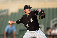 Kannapolis Intimidators relief pitcher Ben Wright (16) in action against the Hickory Crawdads in game one of a double-header at Kannapolis Intimidators Stadium on May 19, 2017 in Kannapolis, North Carolina.  The Crawdads defeated the Intimidators 5-4.  (Brian Westerholt/Four Seam Images)