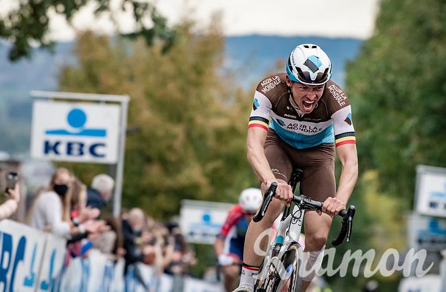 Oliver Naesen (BEL/AG2R-LaMondiale) up the Oude Kwaremont<br /> <br /> 104th Ronde van Vlaanderen 2020 (1.UWT)<br /> 1 day race from Antwerpen to Oudenaarde (BEL/243km) <br /> <br /> ©kramon