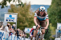 Oliver Naesen (BEL/AG2R-LaMondiale) up the Oude Kwaremont<br /> <br /> 104th Ronde van Vlaanderen 2020 (1.UWT)<br /> 1 day race from Antwerpen to Oudenaarde (BEL/243km) <br /> <br /> ©kramon