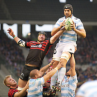 20121020 Copyright onEdition 2012©.Free for editorial use image, please credit: onEdition..Steve Borthwick of Saracens disrupts the lineout ball of Francois Van der Merwe of Racing Metro 92 during the Heineken Cup Round 2 match between Saracens and Racing Metro 92 at the King Baudouin Stadium, Brussels on Saturday 20th October 2012 (Photo by Rob Munro)..For press contacts contact: Sam Feasey at brandRapport on M: +44 (0)7717 757114 E: SFeasey@brand-rapport.com..If you require a higher resolution image or you have any other onEdition photographic enquiries, please contact onEdition on 0845 900 2 900 or email info@onEdition.com.This image is copyright the onEdition 2012©..This image has been supplied by onEdition and must be credited onEdition. The author is asserting his full Moral rights in relation to the publication of this image. Rights for onward transmission of any image or file is not granted or implied. Changing or deleting Copyright information is illegal as specified in the Copyright, Design and Patents Act 1988. If you are in any way unsure of your right to publish this image please contact onEdition on 0845 900 2 900 or email info@onEdition.com