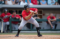 Gorkys Hernandez (7) of the Indianapolis Indians squares to bunt against the Charlotte Knights at BB&T BallPark on June 20, 2015 in Charlotte, North Carolina.  The Knights defeated the Indians 6-5 in 12 innings.  (Brian Westerholt/Four Seam Images)