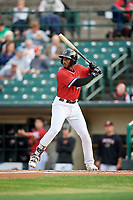 Rochester Red Wings second baseman Niko Goodrum (38) at bat during the first game of a doubleheader against the Scranton/Wilkes-Barre RailRiders on August 23, 2017 at Frontier Field in Rochester, New York.  Rochester defeated Scranton 5-4 in a game that was originally started on August 22nd but postponed due to inclement weather.  (Mike Janes/Four Seam Images)