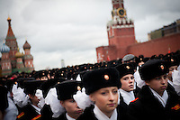 RUSSIA, Moscow, 11.2011. ©  Sergey Kozmin/EST&OST.The Moscow Girls Cadet Boarding School..The girls practice marching before the annual parade on November 7th in the Red Square.
