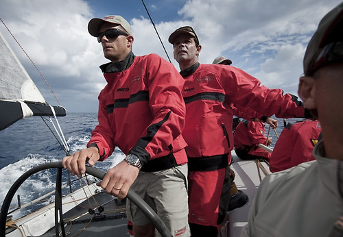 Brazilian sailing legends Robert Scheidt (left) and Torben Grael racing in the Middle Sea Race