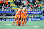The Hague, Netherlands, June 14: Maartje Paumen #17 of The Netherlands is congratulated by teammates during the field hockey gold medal match (Women) between Australia and The Netherlands on June 14, 2014 during the World Cup 2014 at Kyocera Stadium in The Hague, Netherlands. Final score 2-0 (2-0)  (Photo by Dirk Markgraf / www.265-images.com) *** Local caption ***