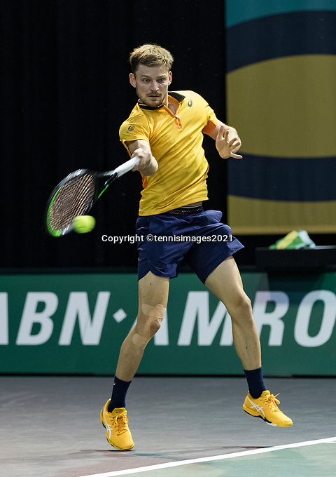 Rotterdam, The Netherlands, 3 march  2021, ABNAMRO World Tennis Tournament, Ahoy, First round match: David Goffin (BEL).<br /> Photo: www.tennisimages.com/henkkoster