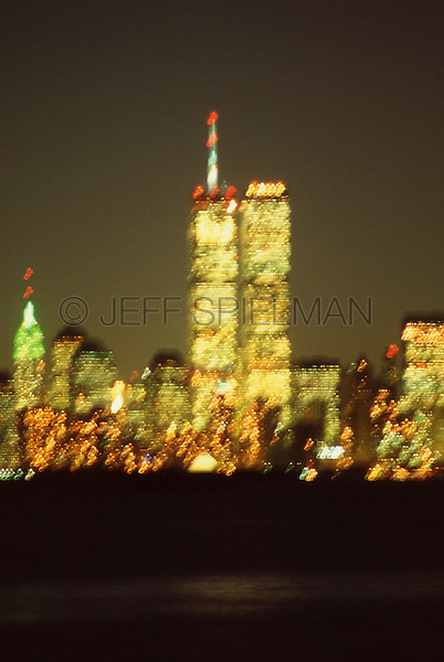 AVAILABLE FROM JEFF AS A FINE ART PRINT<br /> <br /> AVAILABLE FOR COMMERCIAL AND EDITORIAL LICENSING FROM GETTY IMAGES.  Please go to www.gettyimages.com and search for image # 10174615<br /> <br /> The World Trade Center at Night - September 2000, Lower Manhattan, New York City, New York State, USA