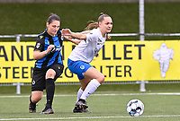 Janne Geers (11) of KRC Genk pictured with Frieke Temmerman (17) of Club Brugge during a female soccer game between Club Brugge Dames YLA and KRC Genk on the fifth matchday of the 2021 - 2022 season of Belgian Scooore Womens Super League , saturday 2 october 2021 in Aalter , Belgium . PHOTO SPORTPIX   DAVID CATRY
