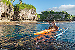 Traditional outrigger canoe in Niue