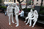 Sculptures at Sheridan Square near the gay venue Stonewall Inn that celebrate gay lifestyle, New York City.