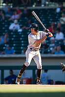 Surprise Saguaros shortstop Cole Tucker (2), of the Pittsburgh Pirates organization, at bat during an Arizona Fall League game against the Mesa Solar Sox at Sloan Park on November 1, 2018 in Mesa, Arizona. Surprise defeated Mesa 5-4 . (Zachary Lucy/Four Seam Images)