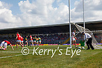 Paul Geaney and Brian Ó Beaglaoich, celebrate after scoring Kerry's  first goal during the Munster GAA Football Senior Championship Final match between Kerry and Cork at Fitzgerald Stadium in Killarney on Sunday.