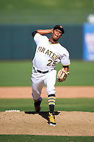 Surprise Saguaros pitcher Edgar Santana (29), of the Pittsburgh Pirates organization, during a game against the Salt River Rafters on October 17, 2016 at Surprise Stadium in Surprise, Arizona.  Surprise defeated Salt River 3-1.  (Mike Janes/Four Seam Images)