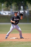 Miami Marlins second baseman Mike Garzillo (26) during a minor league Spring Training game against the New York Mets on March 26, 2017 at the Roger Dean Stadium Complex in Jupiter, Florida.  (Mike Janes/Four Seam Images)