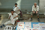 Street vendors in the Paharganj district of New Delhi, India.