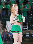 North Texas Mean Green cheerleaders in action during the game between the Louisiana Monroe Warhawks and the University of North Texas Mean Green at the North Texas Coliseum,the Super Pit, in Denton, Texas. UNT defeats ULM 86 to 51...