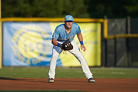 Burlington Royals first baseman Vinnie Pasquantino (33) on defense against the Johnson City Cardinals at Burlington Athletic Stadium on September 3, 2019 in Burlington, North Carolina. The Cardinals defeated the Royals 7-2 to even Appalachian League Championship series at one game a piece. (Brian Westerholt/Four Seam Images)