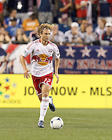 New York Red Bulls defender Stephen Keel (22) looks to pass. In a Major League Soccer (MLS) match, New England Revolution defeated New York Red Bulls, 2-0, at Gillette Stadium on July 8, 2012.
