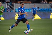 SAN JOSE, CA - MAY 12: Eric Remedi #5 of the San Jose Earthquakes dribbles the ball during a game between San Jose Earthquakes and Seattle Sounders FC at PayPal Park on May 12, 2021 in San Jose, California.