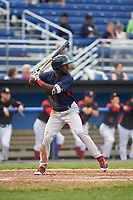 Lowell Spinners center fielder Nicholos Hamilton (24) at bat during a game against the Batavia Muckdogs on July 12, 2017 at Dwyer Stadium in Batavia, New York.  Batavia defeated Lowell 7-2.  (Mike Janes/Four Seam Images)