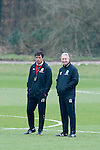 Cardiff - UK - 19th March 2013 : Wales Football Manager Chris Coleman and Kit Symons (coaching staff) during a training session at the Vale Hotel near Cardiff ahead of their game with Scotland at the weekend.