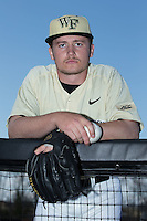 Garrett Kelly (28) of the Wake Forest Demon Deacons poses for a photo prior to the game against the UConn Huskies at Wake Forest Baseball Park on March 17, 2015 in Winston-Salem, North Carolina.  The Demon Deacons defeated the Huskies 6-2.  (Brian Westerholt/Four Seam Images)